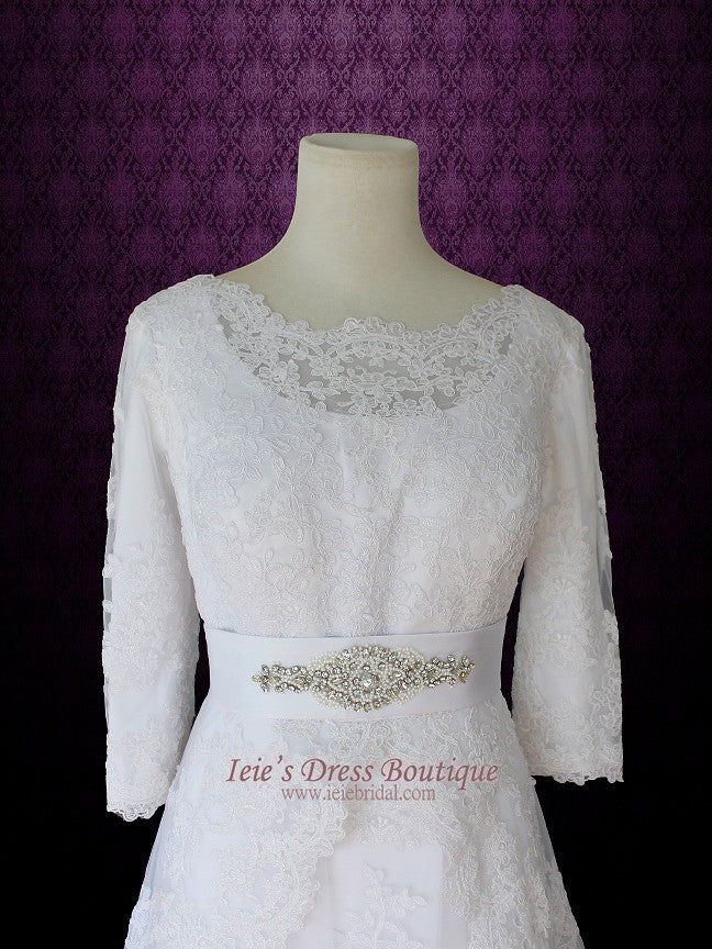Modest Wedding Dress with Long Sleeves Vintage Lace Wedding Dress – ieie
