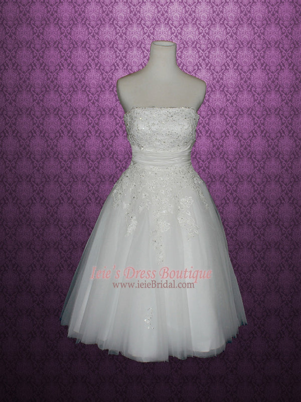 Retro Vintage Style Strapless Lace Tulle Tea Length Wedding Dress | Serena