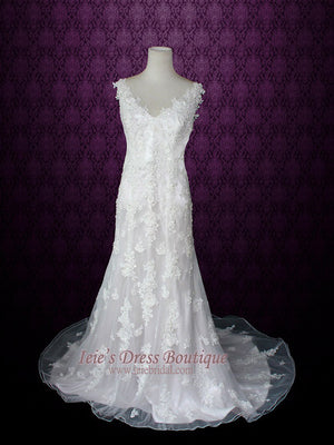 2 Piece Vintage Style Floral Lace Wedding Dress | Griselle