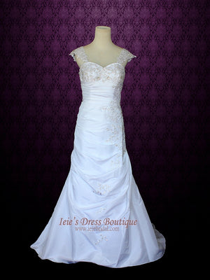 Sweetheart A-line Wedding Dress with Detachable Cap Sleeves | Elania
