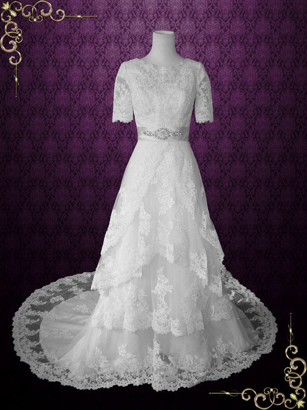 Ready to Ship Modest Wedding Dress with Sleeves Vintage Lace Wedding ...