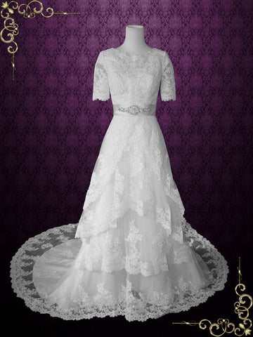 Ready to Ship Modest Wedding Dress with Sleeves Vintage Lace Wedding Dress with Jewel Neck | Laura