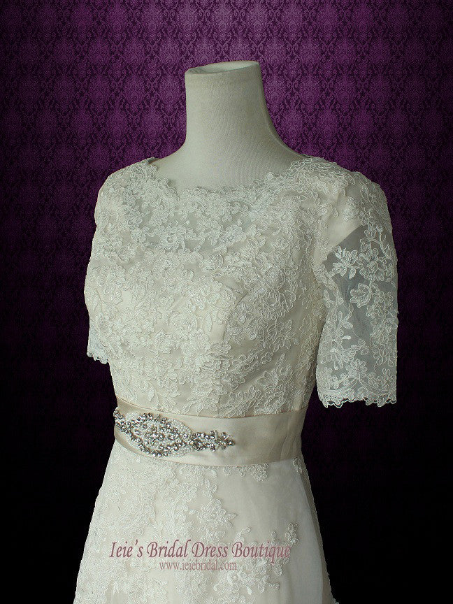 Modest Wedding Dress with Sleeves Vintage Lace Wedding Dress with Jewel Neck | Laura