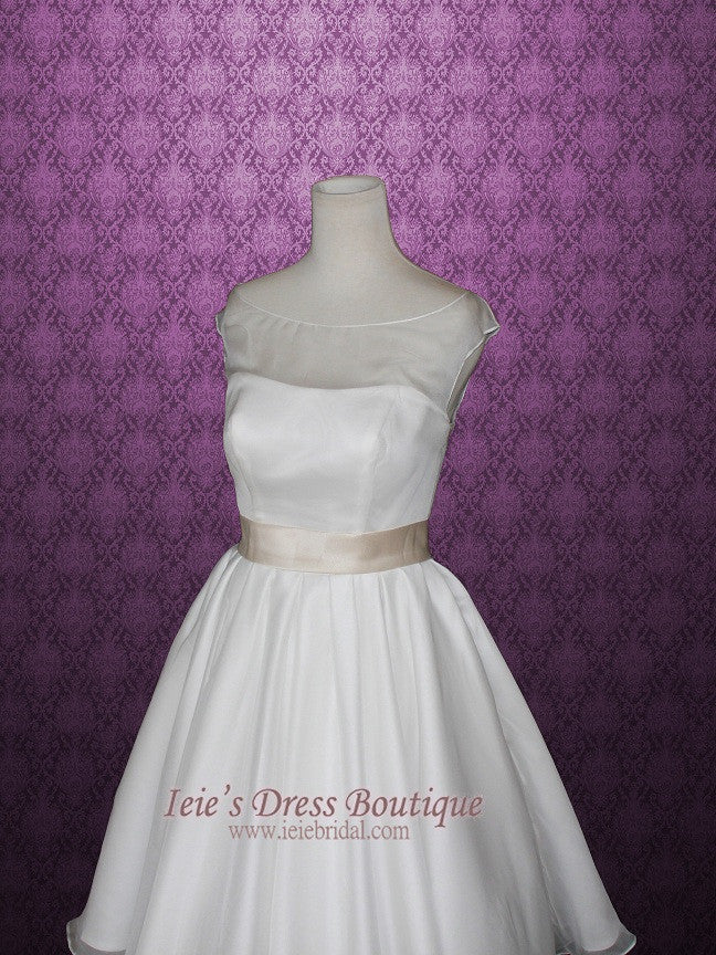 Retro 50s Tea Length Wedding Dress with Round Neck and Sash | Gena ...