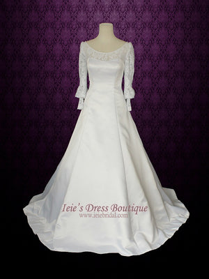 Modest Long Sleeves Wedding Dress with Scoop Neck with Detachable train | Francine