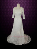 Vintage Modest Lace Wedding Dress with Long Sleeves REBECCA