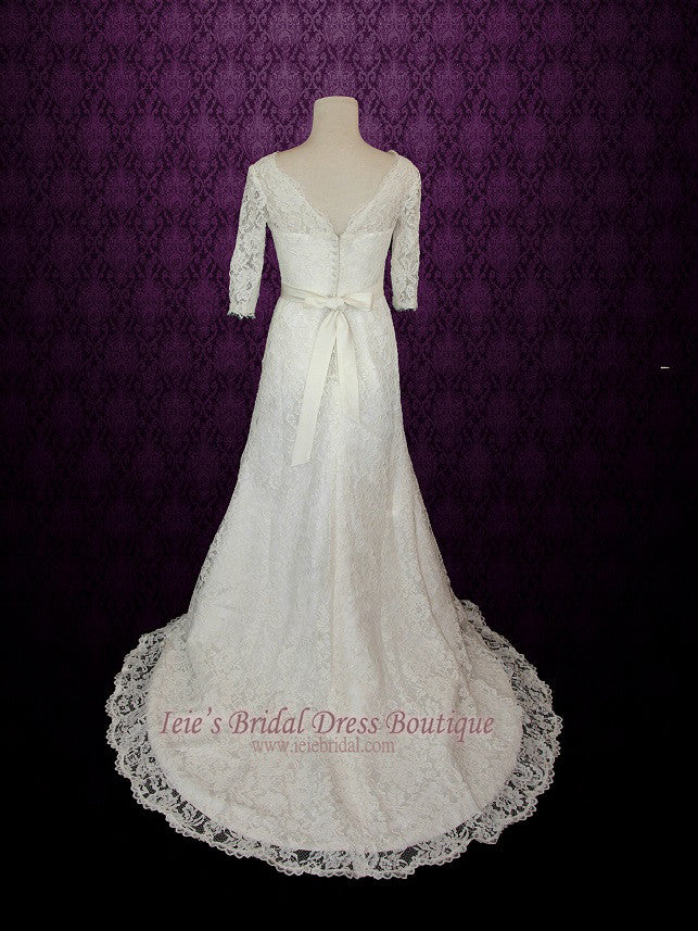 Vintage Modest Lace Wedding Dresss with Long Sleeves – ieie