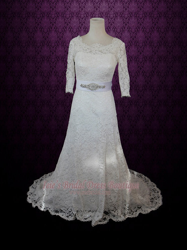 Modest Lace Wedding Dress with 3/4 quarter sleeves