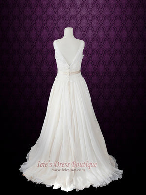 grecian a-line chiffon wedding dress with flower sash