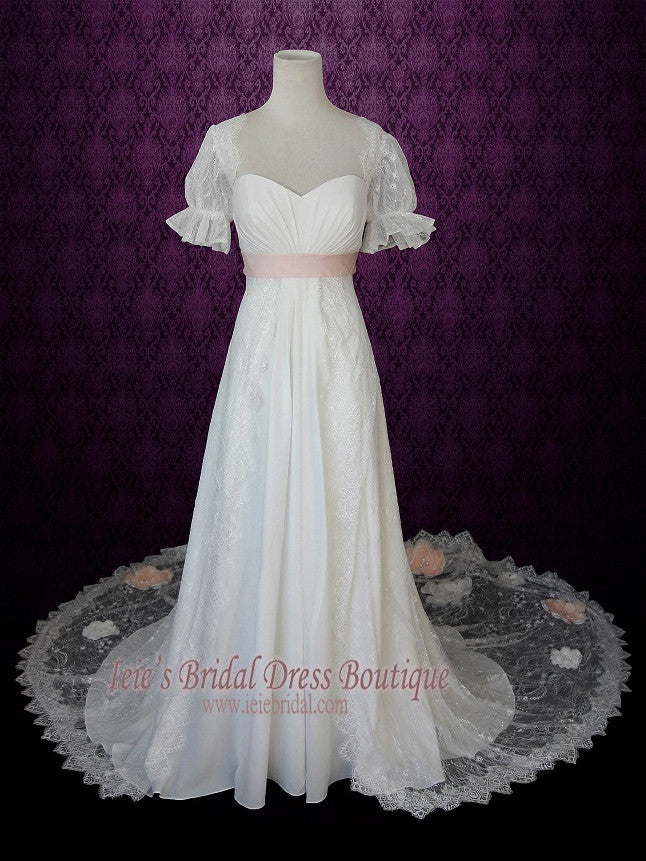1920s Regency Style Empire Lace Wedding Dress with Sleeves Pink Sash ...