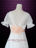 Empire Lace Wedding Dress with Sleeves Pink Sash and Flowers ANTJE