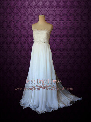 Maternity Wedding Dress Strapless Empire Waist Chiffon | Hollie