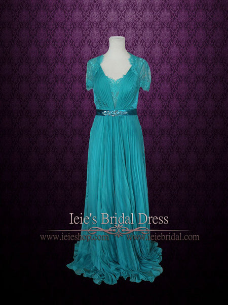 Teal Grecian Lace V neck Formal Prom Evening Dress with Short Sleeves | Fiona