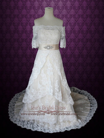 Vintage Style Off The Shoulder Lace Overlay Wedding Dress with Short Sleeves | Lillian