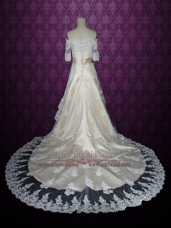 Champagne Vintage Lace Wedding Dress with Cathedral Train
