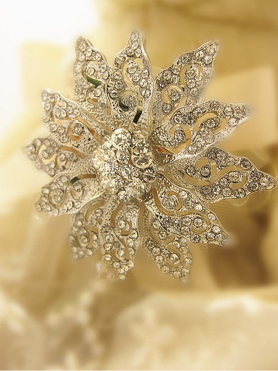 Wedding fashion bridal crystal jeweled brooch