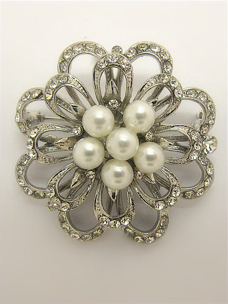 Vintage Style Inspired Silver Pearl Floral Brooch
