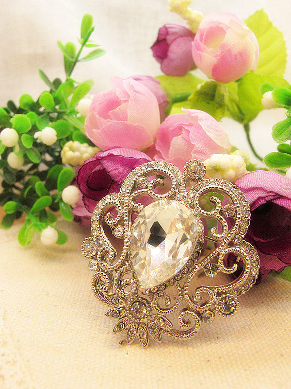 Crystal Tear Drop Rhinestone Banquet Wedding Dress Brooch