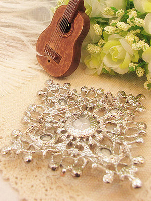 Square Crystal Wedding Dress Brooch