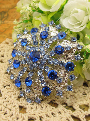 Something Blue Crystal Wedding Brooch