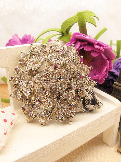 Crystal Leaves Jeweled Wedding Brooch