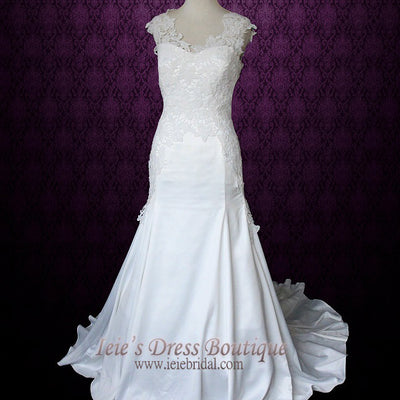 Ivory Fit and Flare Vintage Lace Wedding Dress with Cap Sleeves | Isabel