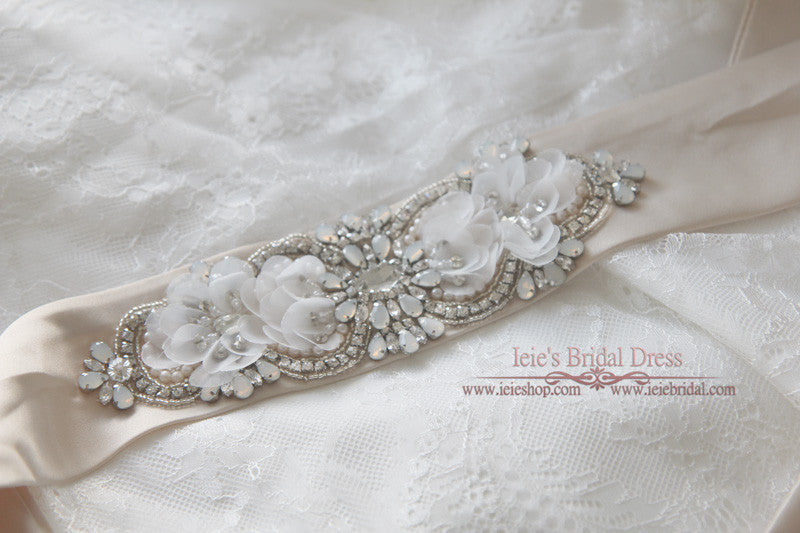 Exquisite Jeweled Bridal Sash with Moonstone | BT2006