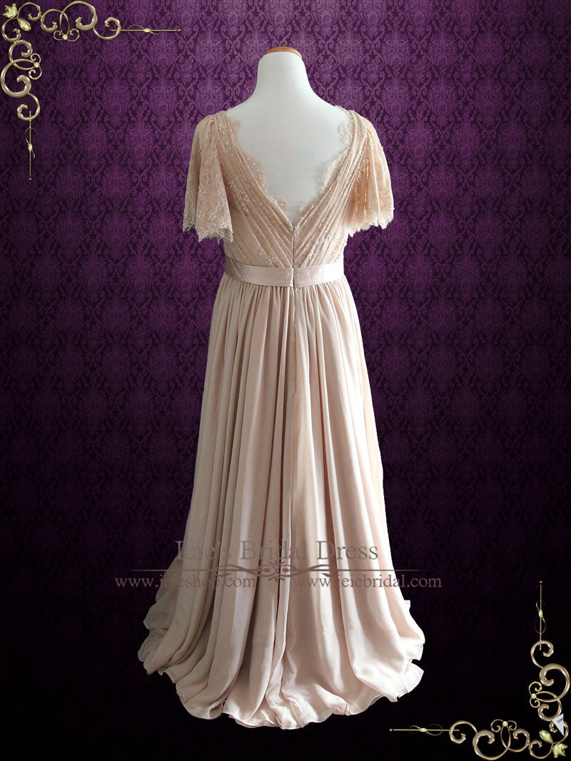 Victorian Style Beige Modest Chiffon Wedding Dress With