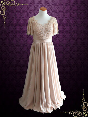 Victorian Style Beige Modest Chiffon Wedding Dress with Butterfly Sleeves | Patricia