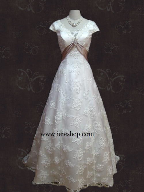 Cap Short Sleeves Empire A-line Lace Overlay Wedding Dress
