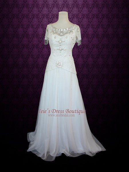 Ready to Ship Jeweled Retro Hollywood Wedding Dress Vintage Wedding Dress | Danielle