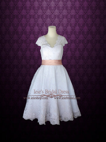 Retro 50s Tea Length Lace Wedding Dress with Short Sleeves | Cherry
