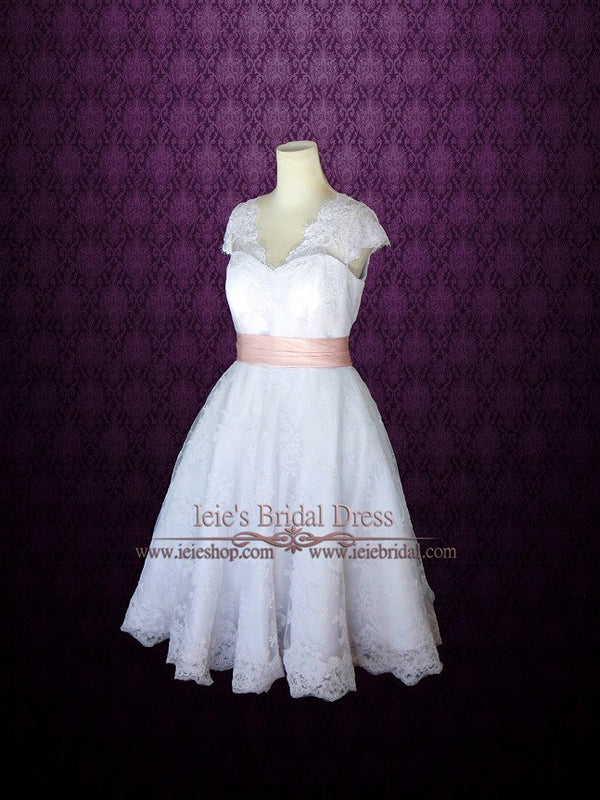 retro 50s lace tea length wedding dress