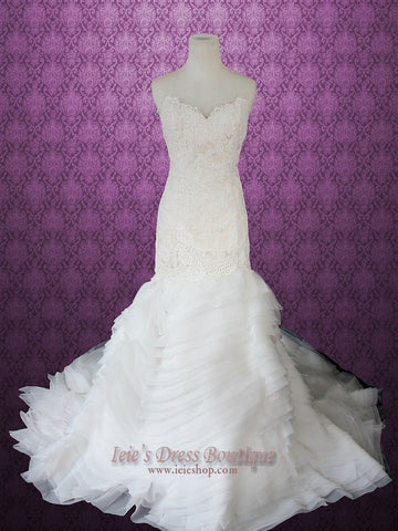 French Lace Scallop Hem Mermaid Wedding Dress with Organza Ruffles Strips
