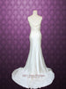 Retro Hollywood Vintage Style Sleek Cowl Neck Low Back Silk Wedding Gown