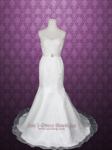 Strapless Sweetheart Organza Fit and Flare Wedding Dress with Jewled Sash | Cindie