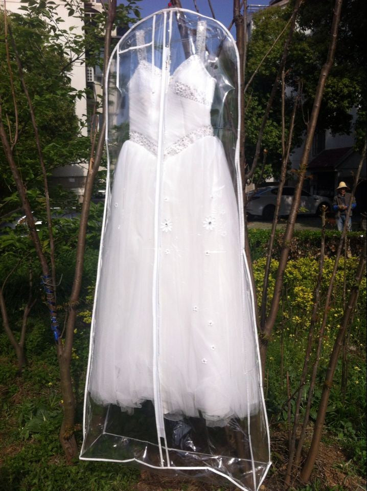 Extra Long Full Length Clear See Through Wedding Dress