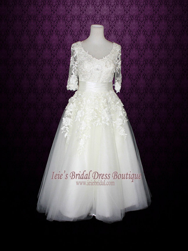 Long Sleeves Wedding Dress Short Retro Tea Length Wedding Dress ...