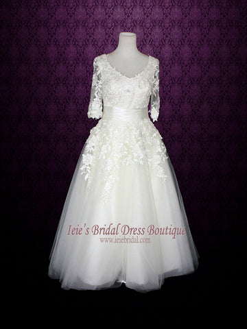 Long Sleeves Wedding Dress Short Retro Tea Length Wedding Dress | Marina