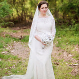 Fingertip Lace Mantilla Wedding Veil with Eye Lash Lace Trim Edge