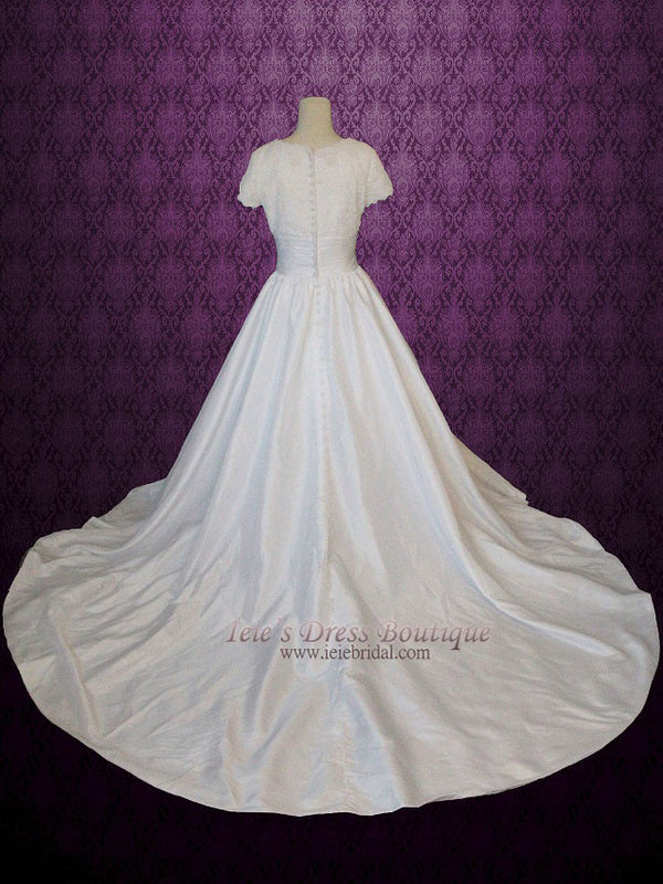 Modest Ball Gown Wedding Dress with Lace Top Short sleeves Chapel Train Scoop Neckline | Catherine