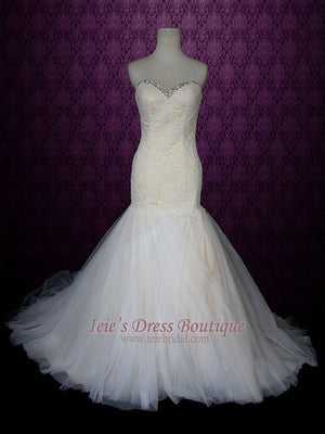 Strapless fit and flare champagne wedding dress