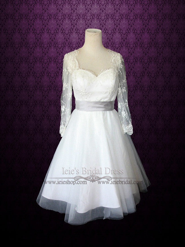 retro tea length lace wedding dress with long lace sleeves