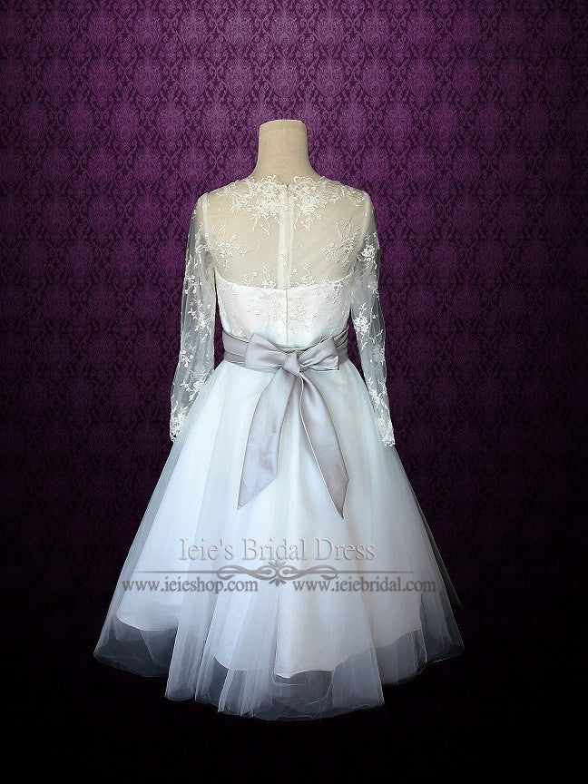 Retro 50s Tea Length Lace Wedding Dress With Long Sleeves