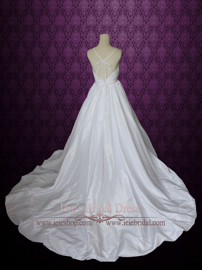 Empire Waist A Line Wedding Dress With Thin Straps And Crossed Low