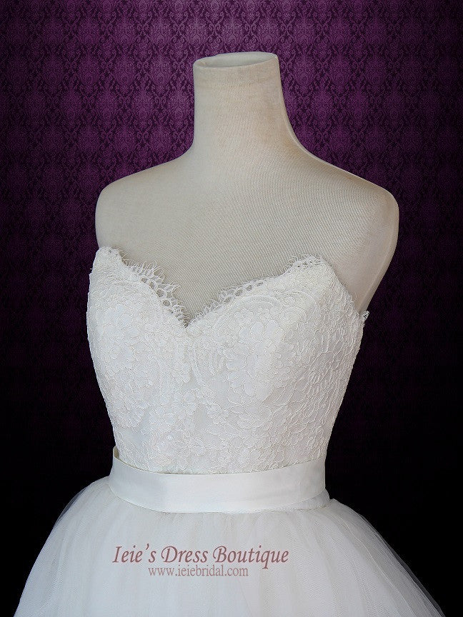 Strapless Two Piece Convertible Ivory Lace Wedding Dress