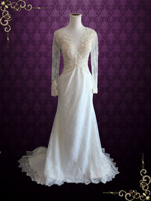 Open Back Lace Wedding Dress with Pludging Neckline | Elizabeth