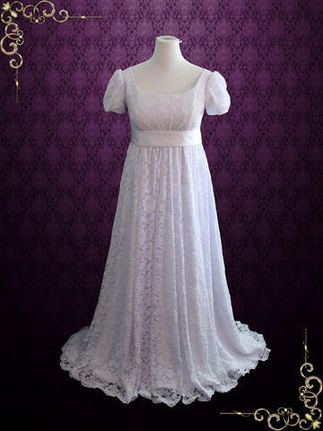 Ready to Ship Edwardian Regency Style Empire Waist Lace Wedding Dress | Harriet