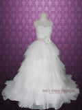 Ball Gown Tulle Feather Ruffle Wedding Dress