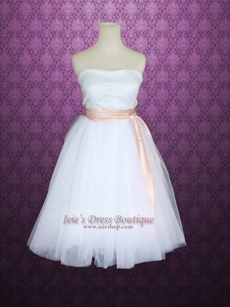 Ballerina Tutu Tulle Knee Length Short Wedding Dress With Pink Sash